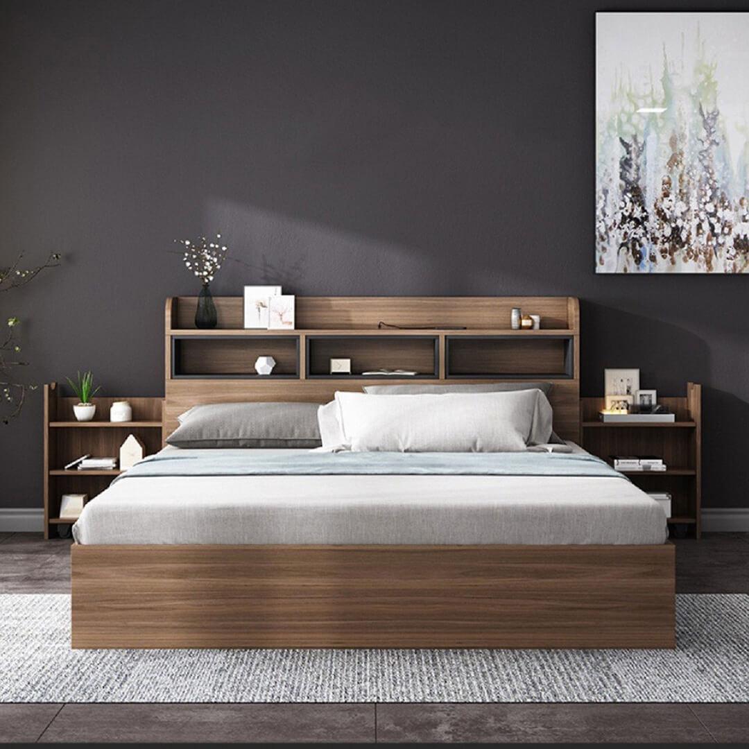 màu sơn tường phòng ngủ màu nâu đậm