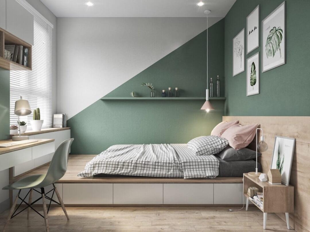 phòng ngủ sơn tường màu xanh lá cây ấn tượng