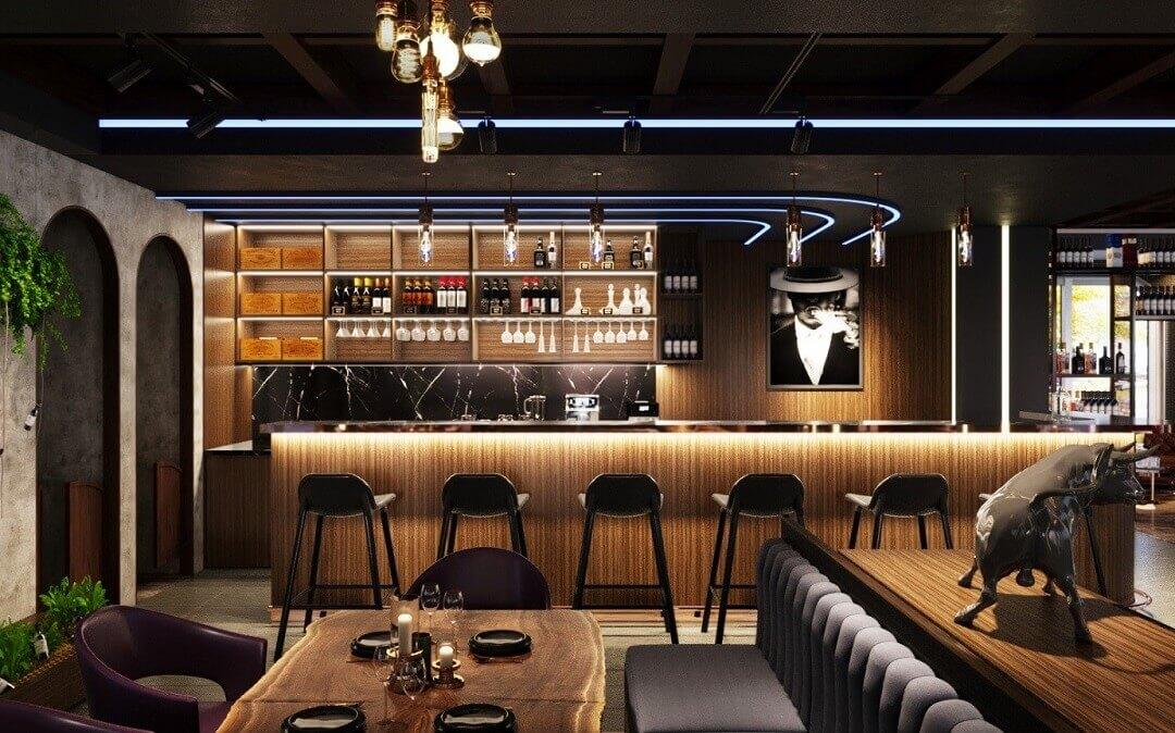 Quầy bar bằng gỗ hiện đại
